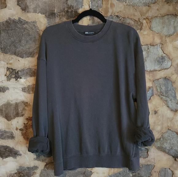 ZARA French Terrycloth crewneck gray sweater